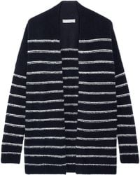 Vince | Striped Wool-blend Bouclé Cardigan | Lyst