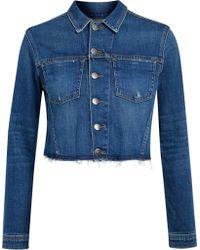 L'Agence - Zuma Cropped Studded Denim Jacket - Lyst