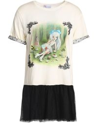 RED Valentino - Printed Cotton-jersey And Point D'esprit Mini Dress - Lyst