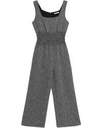 Maje - Shirred Cotton-blend Jacquard Wide-leg Jumpsuit - Lyst