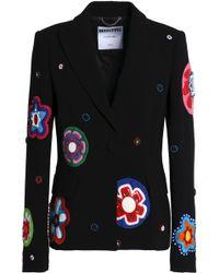 Moschino - Woman Embellished Crepe Blazer Black - Lyst