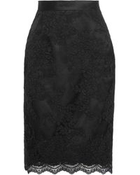 Marchesa - Woman Scalloped Satin-trimmed Guipure Lace Skirt Black - Lyst