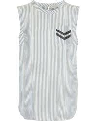Brunello Cucinelli - Bead-embellished Striped Silk Top - Lyst