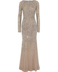 4072b0fc581 Rachel Gilbert - Woman Viera Fluted Embellished Tulle Gown Bronze - Lyst