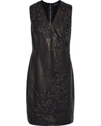 2d6f7a970db39 Elie Tahari - Roanna Embellished Leather And Stretch-jersey Dress - Lyst