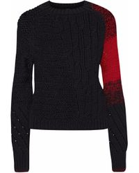 Helmut Lang - Open And Cable-knit Wool-blend Sweater - Lyst