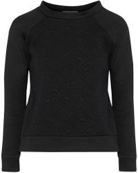 Kain - Woman Hudson Matelassé Cotton-fleece Sweatshirt Black - Lyst