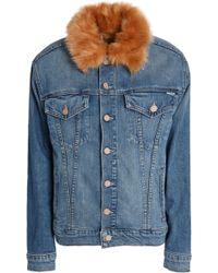 Mother - Faux Fur-trimmed Denim Jacket Mid Denim - Lyst