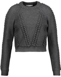 MILLY - Cropped Cable-knit Wool-cloqué Sweater - Lyst