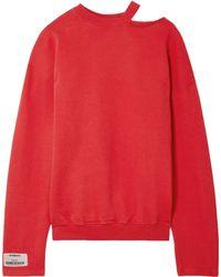 Vetements - Oversized Cutout Stretch-cotton Jersey Sweatshirt Red - Lyst