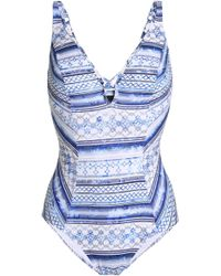 Jets by Jessika Allen - Lattice-trimmed Printed Swimsuit - Lyst