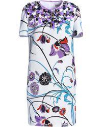 Emilio Pucci - Embellished Floral-print Cotton-blend Faille Mini Dress - Lyst