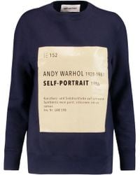 Self-Portrait - Printed Cotton-blend Jersey Sweatshirt - Lyst