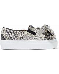 Charlotte Olympia - Bow-embellished Printed Felt Platform Slip-on Sneakers - Lyst