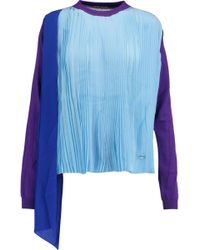 Vionnet - Plissé-paneled Silk Top - Lyst