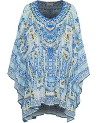 Camilla - Woman Embellished Printed Crepe De Chine Coverup Blue - Lyst
