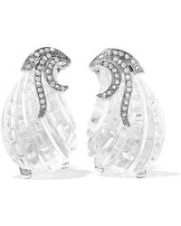 Kenneth Jay Lane - Woman Silver-tone, Crystal And Resin Clip Earrings Silver - Lyst