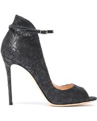 Gianvito Rossi - Corded Lace Leather Sandals - Lyst
