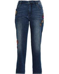 Kate Spade - Appliquéd Cropped Mid-rise Straight-leg Jeans - Lyst