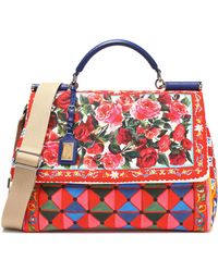 Dolce & Gabbana - Leather-trimmed Printed Canvas Tote - Lyst