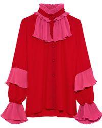 Anna Sui - Two-tone Plissé And Crepe De Chine Shirt - Lyst