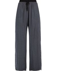 DKNY - Printed Woven Wide-leg Pajama Pants Midnight Blue - Lyst