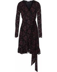 Ganni Flynn Ruffled Lace Wrap Dress Black