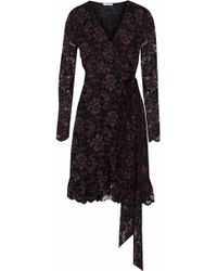 Ganni - Woman Flynn Ruffled Lace Wrap Dress Black - Lyst