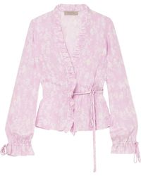 Preen Line - Taia Ruffled Floral-print Crepe De Chine Wrap Blouse Lilac - Lyst