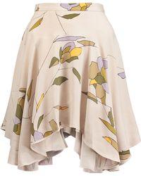 Halston Heritage | Pleated Printed Crepe De Chine Mini Skirt | Lyst