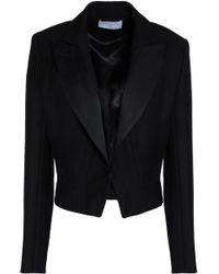 Sandro - Cropped Satin-trimmed Crepe Jacket - Lyst