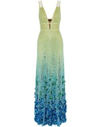 Jenny Packham - Dégradé Cutout Embellished Tulle Gown Lime Green - Lyst