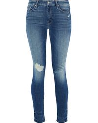Mother - Looker Embroidered Distressed Mid-rise Skinny Jeans - Lyst
