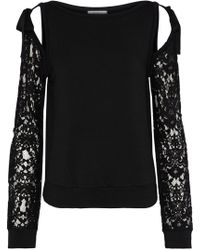 Bailey 44 - Sentimental Cold-shoulder Lace-paneled Stretch-modal Fleece Sweatshirt - Lyst