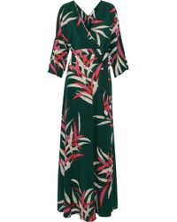 6843e234309 Diane von Furstenberg - Floral-print Silk Crepe De Chine Maxi Wrap Dress -  Lyst