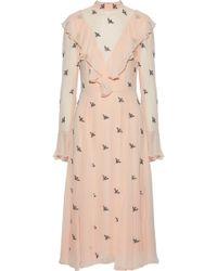 Temperley London - Ruffled Embellished Chiffon Dress Pastel Pink - Lyst
