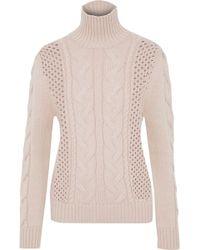 Balmain - Cable-knit Wool Turtleneck Sweater - Lyst