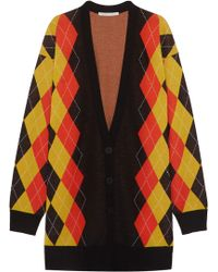 Stella McCartney - Oversized Argyle Wool Cardigan - Lyst