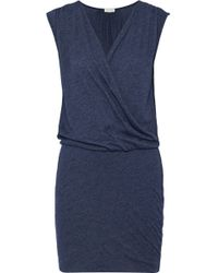 Soft Joie Faylen Wrap-effect Cotton-blend Jersey Mini Dress Navy