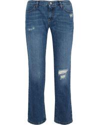 Iris & Ink - Karler Distressed Mid-rise Straight-leg Jeans Mid Denim - Lyst