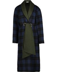 SUNO - Belted Plaid Wool-blend Coat - Lyst