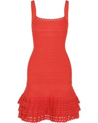 Hervé Léger - Ruffled Bandage Mini Dress - Lyst