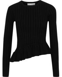 Robert Rodriguez Asymmetric Ruffle-trimmed Ribbed-knit Top Black