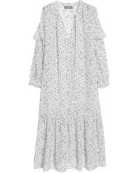 M.i.h Jeans - Erika Pussy-bow Floral-print Silk Midi Dress - Lyst