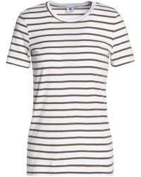 Petit Bateau - Woman Striped Cotton-jersey T-shirt Army Green - Lyst