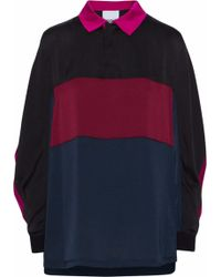 Koche - Layered Color-block Washed-satin Shirt - Lyst