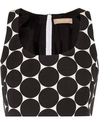 Michael Kors - Cropped Polka-dot Cotton And Silk-blend Matelassé Top - Lyst