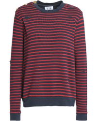 Zoe Karssen - Distressed Striped Cotton-blend Jumper - Lyst