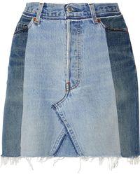 RE/DONE - Two-tone Frayed Denim Mini Skirt - Lyst