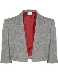 Sara Battaglia - Cropped Prince Of Wales Checked Wool-blend Blazer - Lyst